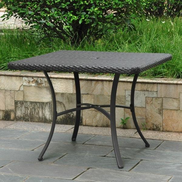 International Caravan Barcelona Resin Wicker Aluminum 39 Inch Square Outdoor Dining Table