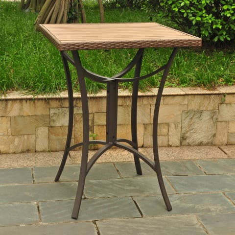 International Caravan Barcelona Resin Wicker / Aluminum 32-inch Square Outdoor Bar Table