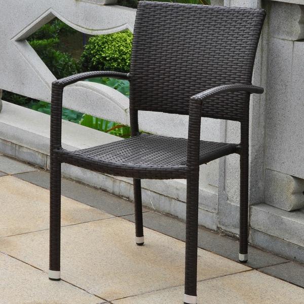 International Caravan Barcelona Resin Wicker/Aluminum Outdoor Stackable Armchair (As Is Item)