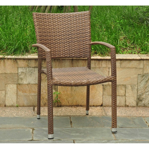 International Caravan Barcelona Resin Wicker Aluminum Outdoor Dining Chairs Set Of 2