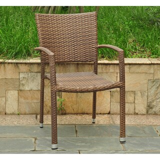 International Caravan Barcelona Resin Wicker/Aluminum Outdoor Dining Chairs (Set of 2)