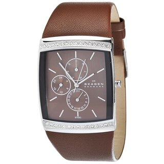 Skagen Women's Square Glitz Brown Leather Watch
