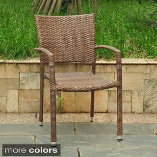 International Caravan Barcelona Resin Wicker/Aluminum Outdoor Dining Chairs (Set of 4)