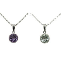 Gioelli Tiara Collection Sterling Silver 8mm Round Gemstone Crown Necklace