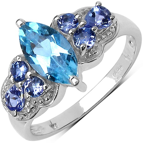 Malaika Sterling Silver 1 3/4ct TGW Blue Topaz and Tanzanite Ring