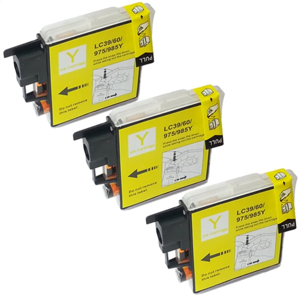 Brother LC-39 Compatible Yellow Ink Cartridges (Pack of 3)