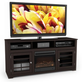 Sonax West Lake Collection Wood Dark Espresso Fireplace 60-inch Entertainment Center