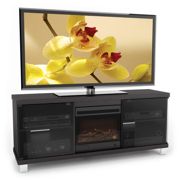 Shop Sonax Holland Collection Wood Ravenwood Black Fireplace 60 Inch Entertainment Center Free Shipping Today Overstock 7324553