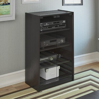 Silver Orchid Linder 21-inch Midnight Black Wood Media Cabinet