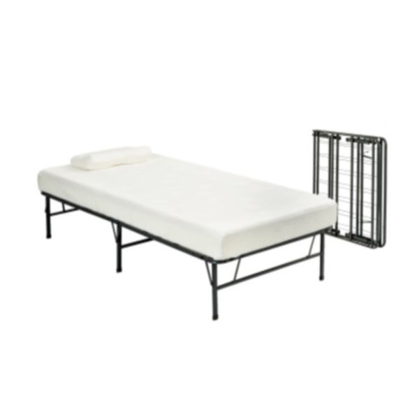 pragma fold bed frame twin xl size with 6 inch memory foam mattress
