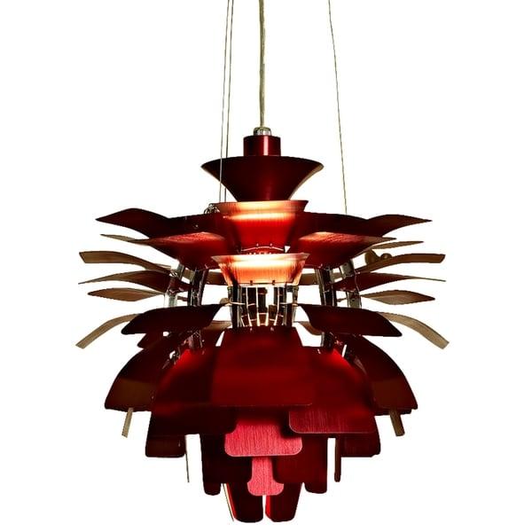 Red Artichoke Chandelier: 19-inch Artichoke Style Chandelier Red Modern Lamp