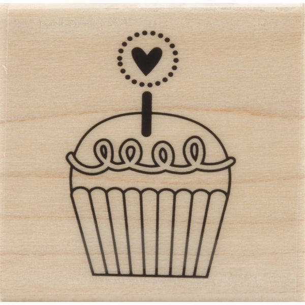 'Cutest Cupcake' 1.25-inch x 1-inch Mounted Rubber Stamp