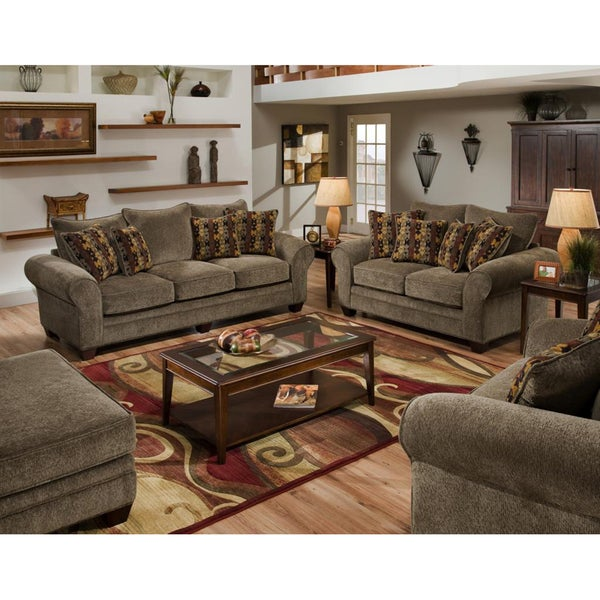 shop burlington mushroom sofa and loveseat set free shipping today 7324725. Black Bedroom Furniture Sets. Home Design Ideas