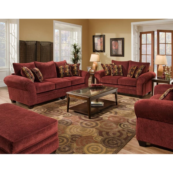 Burlington Burgundy Sofa And Loveseat Set Free Shipping