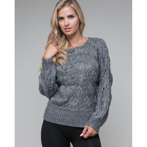 Stanzino Women's Grey Vertical Knit Mohair Sweater