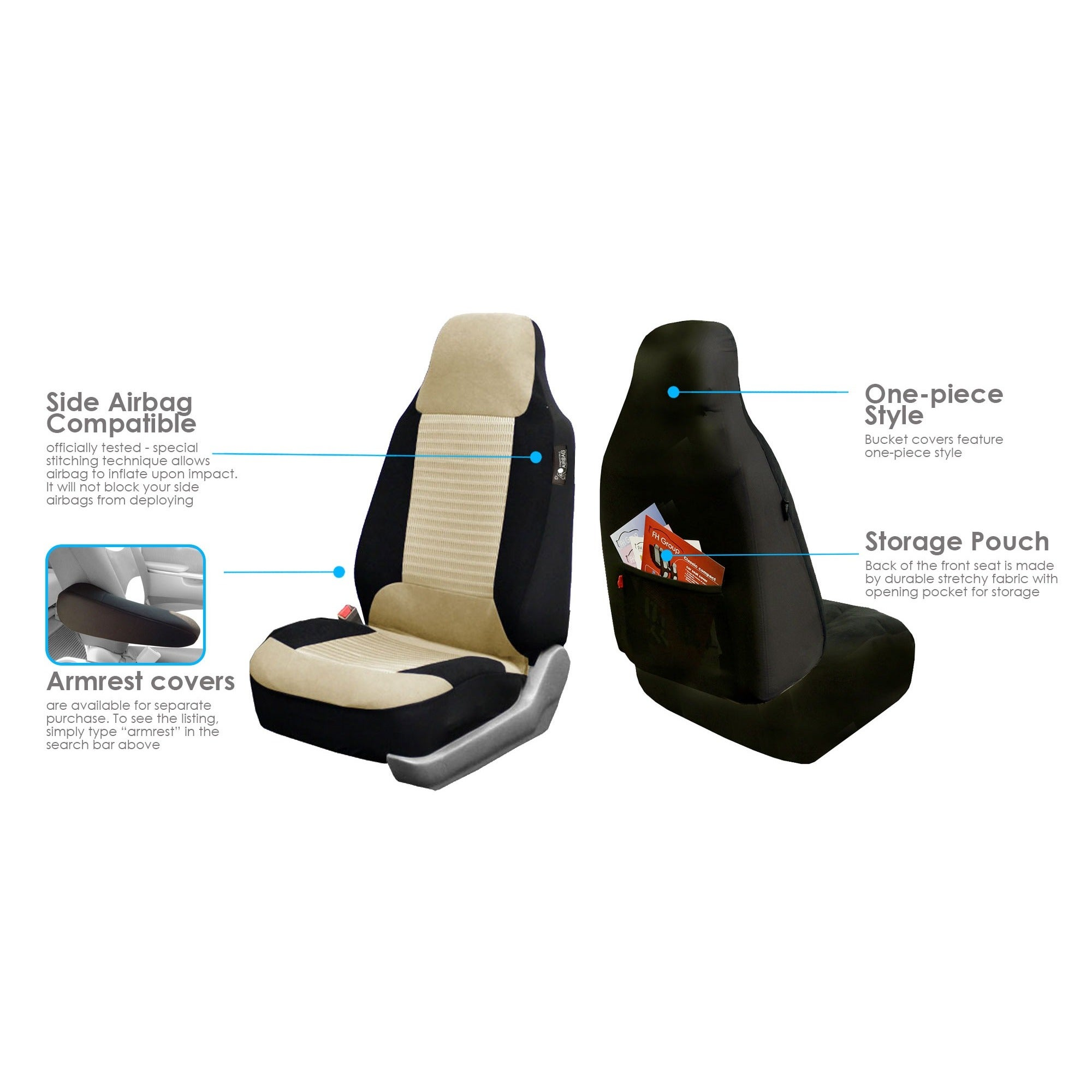 Groovy Fh Group Pair Bucket Seat Covers Airbag Compatible Unemploymentrelief Wooden Chair Designs For Living Room Unemploymentrelieforg