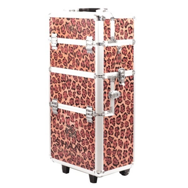 Shany Professional Leopard-print Lightweight Rolling Makeup Case