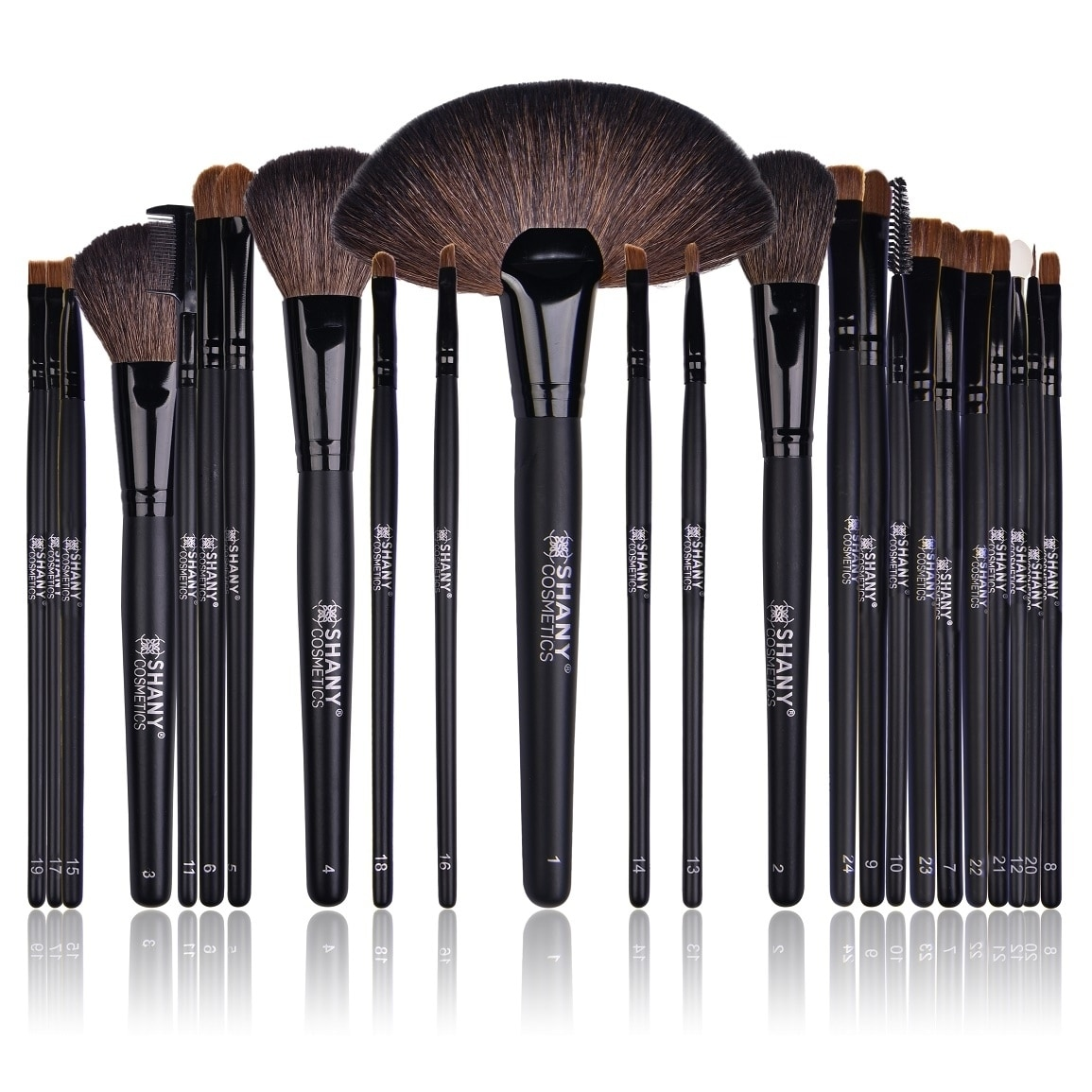Shany Studio Quality Natural Cosmetic Brush Set with Leat...