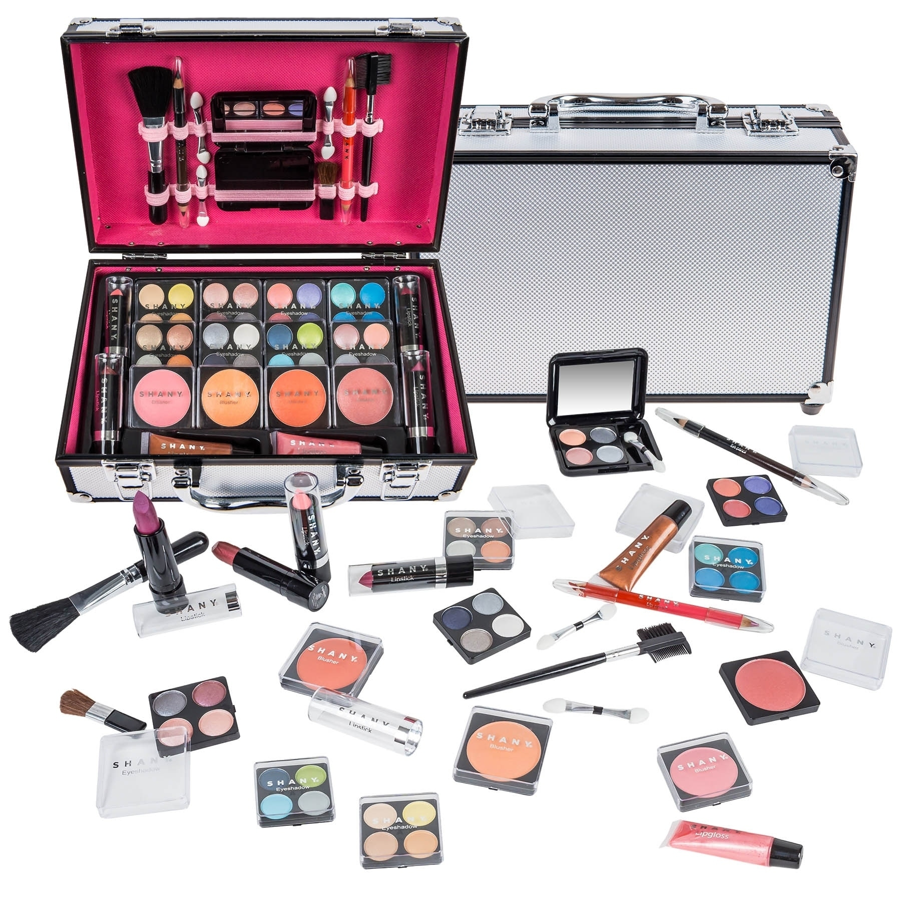 Shany Carry-all Makeup Train Case with Pro Makeup and Reu...