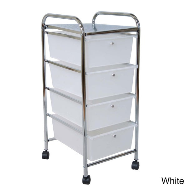 Four-drawer Rolling Trolley Cart with Top Shelf