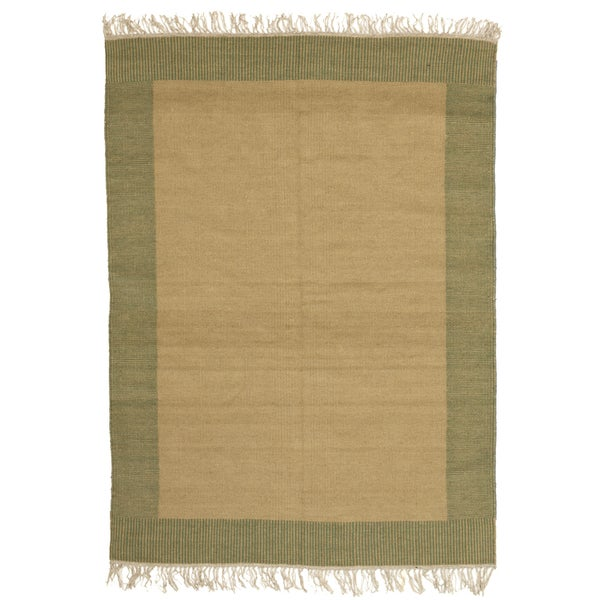Haseera Gold and Green 100-percent Egyptian Wool Flatweave Rug (5' x 7') (Egypt)
