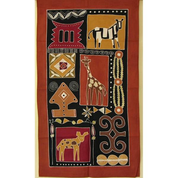'Giraffe and Kudu' Hand Painted African Tapestry (Zambia)