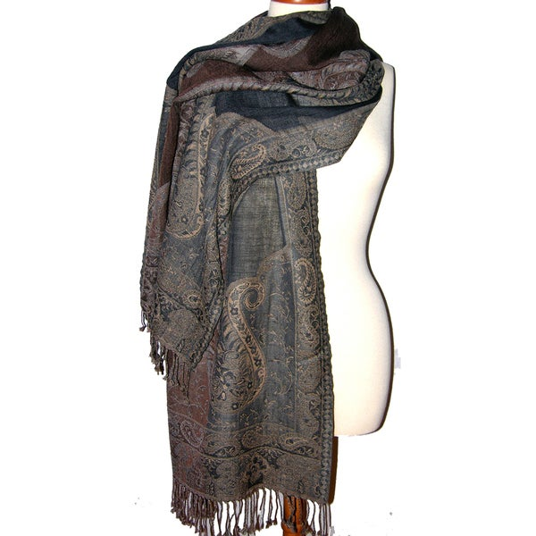 Handwoven Merino Wool Taupe/ Rust Paisely Cutwork Shawl (India)