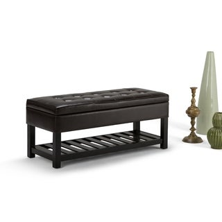 WyndenHall Essex Entryway Wood Faux Leather Fabric Foam Storage Ottoman Bench (More options available)