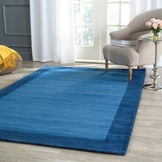 Safavieh Handmade Himalaya Light Blue/ Dark Blue Wool Gabbeh Rug