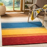 Safavieh Handmade Himalaya Orange/ Multicolored Stripe Wool Gabbeh Rug