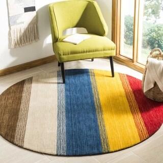 Safavieh Handmade Himalaya Orange/ Multicolored Stripe Wool Gabbeh Rug