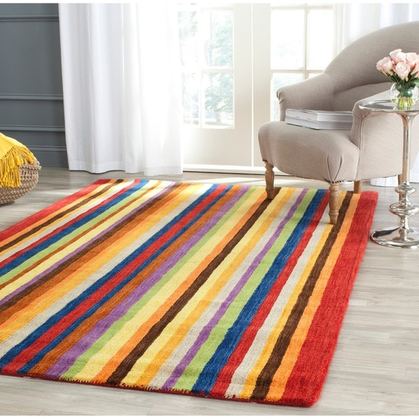 Safavieh Handmade Himalaya Red/ Multicolored Stripe Wool Gabbeh Rug