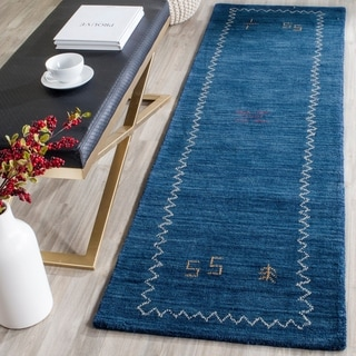 Safavieh Handmade Himalaya Blue Wool Gabbeh Runner Rug