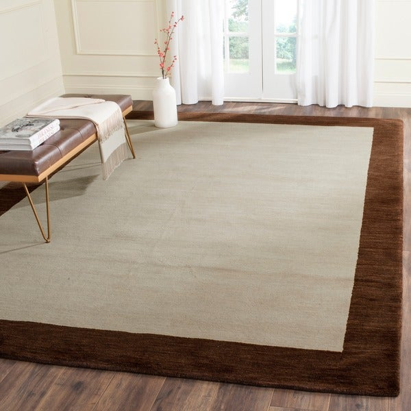Safavieh Handmade Himalaya Beige/ Dark Brown Border Wool Runner Rug