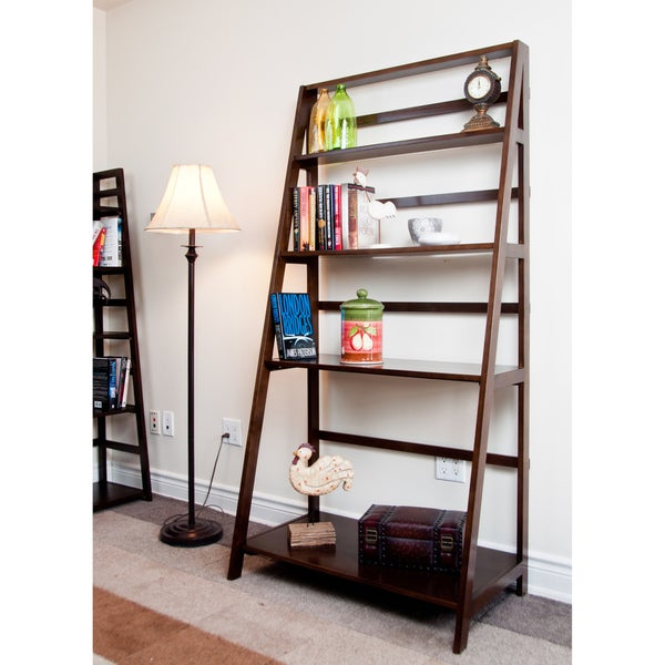 WYNDENHALL Normandy Tobacco Brown Convertible Ladder Shelf Bookcase - Desk
