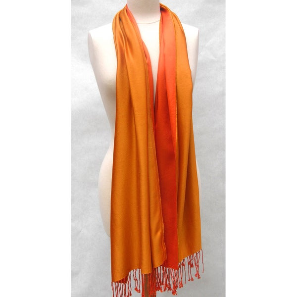 Handwoven Silk Two-tone Tangerine/ Gold Reversible Shawl (India)