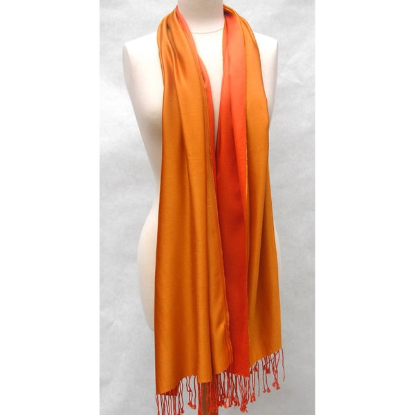 Handwoven Silk Two-tone Tangerine/ Gold Reversible Shawl (India)