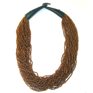 Handmade Amber Glass Beads Horn Clasp Necklace (India)