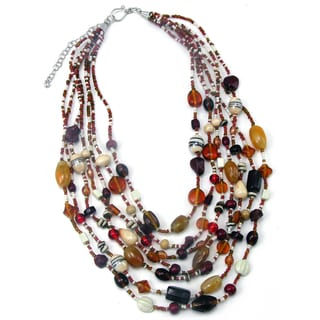 Handmade Glass and Agate Pomegranate Splash Necklace (India)