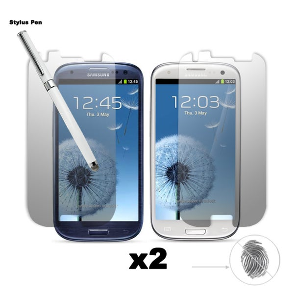 Premium Anti-glare/ Anti-finger Print Screen Protector Samsung Galaxy S III (I9300) (pack of 2) and One Dual-Purpose Stylus Pen