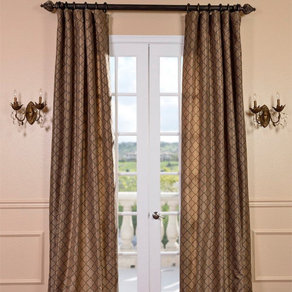 Exclusive Fabrics Motif Toffee Faux Silk Curtain Panel