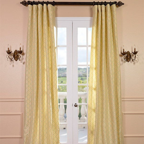 Exclusive Fabrics Motif Buttermint Faux Silk Curtain Panel