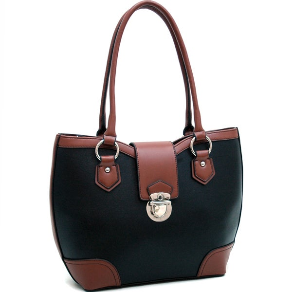 Dasein Classic Two-tone Black/ Coffee Shoulder Bag