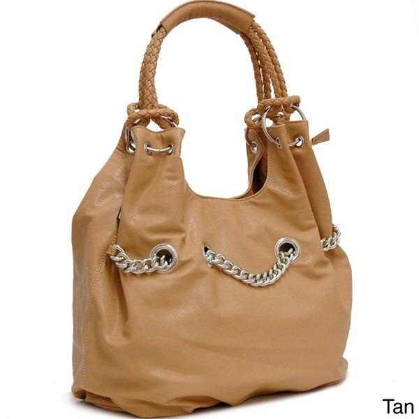 Dasein Chain Accent Faux Leather Shoulder Bag