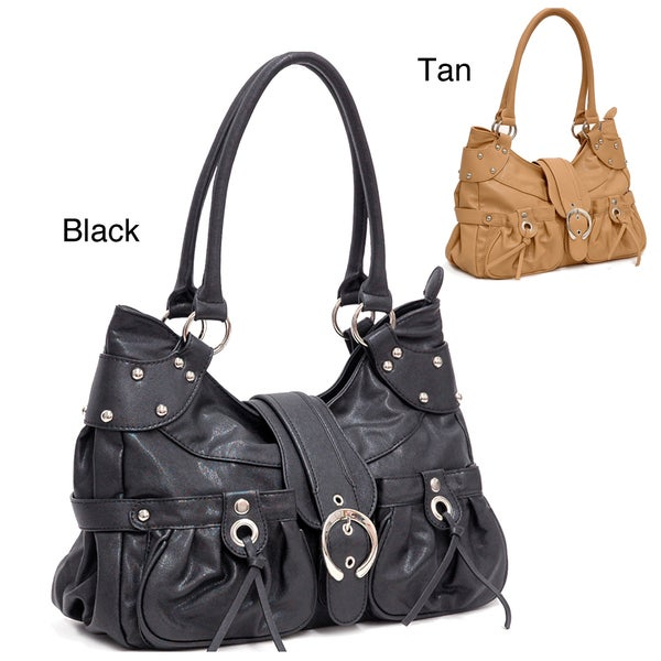 Dasein Buckle Accented Faux Leather Shoulder Bag