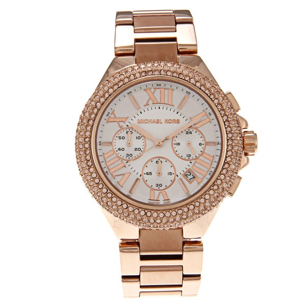 Michael Kors Women's 'MK5636' Rose Goldtone White Dial Watch