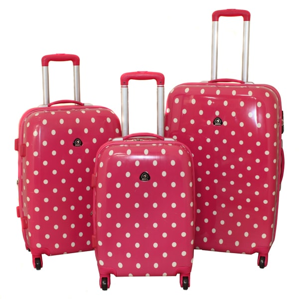 Designer Pink Polka Dot 3-Piece Expandable Lightweight Hardside ...