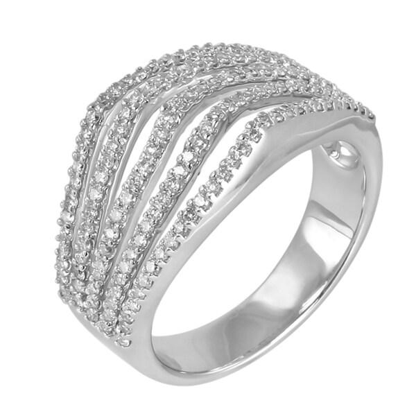 14k White Gold 3/4ct TDW Multi Row Diamond Ring (H-I, I1-I2)