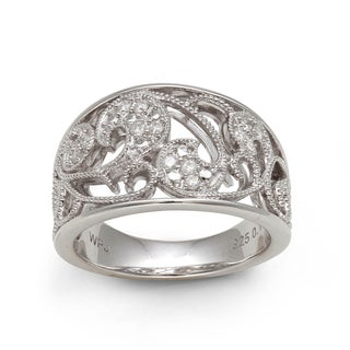 Sterling Silver 1/6ct TDW Diamond Filigree Ring (H-I, I2-I3)