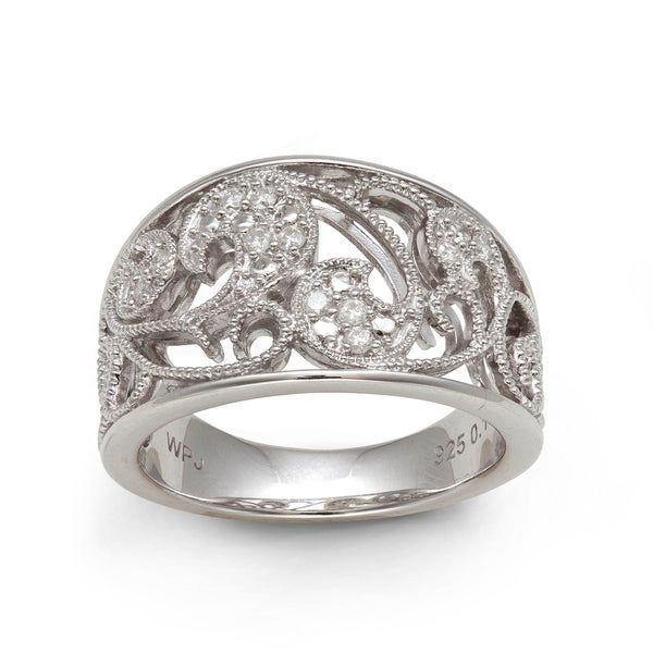 Sterling Silver 1/6ct TDW Diamond Filigree Ring (H-I, I2-I3)